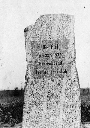 Werner von Fritsch - Commemorative stone placed by Germans in the spot where Fritsch died. It was destroyed in 1944 during the Warsaw Uprising.