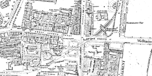 Westminster tube station - Ordnance Survey map showing Westminster station in 1878