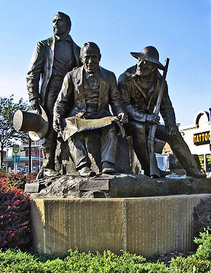 Kansas City, Missouri - Kansas City Pioneer Square monument in Westport features Pony Express founder Alexander Majors, Westport/Kansas City founder John Calvin McCoy, and Mountain-man Jim Bridger who owned Chouteau's Store.