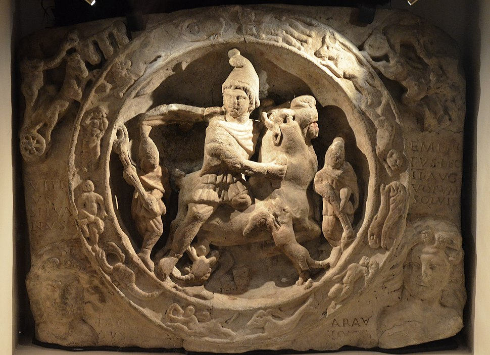 White marble relief with Mithras bull-slaying scene (CIMRM 810-811), from Walbrook Mithraeum in Londinium,, AD 180-220, Museum of London (14007820699)