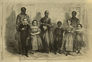 """George H. Hanks - A woodcut of the slaves Hanks brought northeast that appeared in Harper's Weekly on 30 January 1864 with the caption, """"Emancipated Slaves, White and Colored"""" based on a photograph by Myron Kimball"""