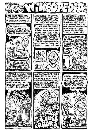 Wikipedia in culture - Roadkill Bill comic mocking Wikipedia.