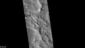 Rudaux (crater) - West rim of Rudaux Crater, as seen by CTX camera (on Mars Reconnaissance Orbiter).