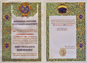 William Ramsay - William Ramsay's Nobel Prize certificate