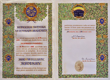 William Ramsay's Nobel Prize certificate