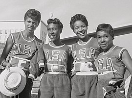 Wilma Rudolph, Lucinda Williams, Barbara Jones, Martha Hudson 1960.jpg
