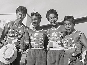 Barbara Jones (athlete) - Jones (2nd right) at the 1960 Olympics