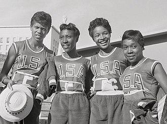 Barbara Jones (athlete) - Jones (2nd right) at the 1960 Olympics