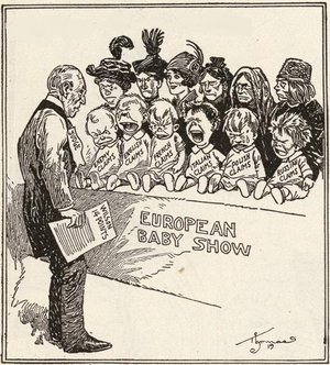 Fourteen Points - Wilson with his 14 points choosing between competing claims. Babies represent claims of the English, French, Italians, Polish, Russians, and enemy. American political cartoon, 1919.