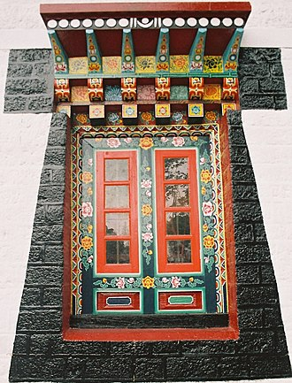 Enchey Monastery - Ornately carved colourful Window of prayer hall