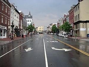 Wisconsin Avenue - Shops along Wisconsin Avenue, as viewed from M Street, N.W., in the Georgetown neighborhood of Washington, D.C.