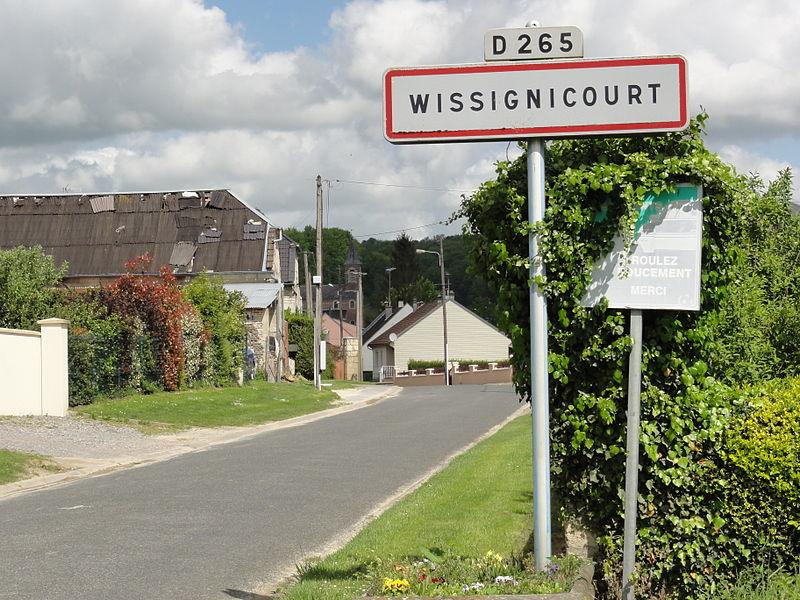 Wissignicourt (Aisne) city limit sign