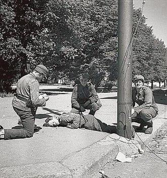 Battle of Vyborg Bay (1944) - Image: Wounded Soldier Battle for Vyborg June 44