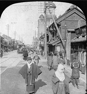 Ginza - Ginza in the early 1900s, photographed by William H. Rau