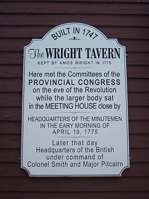 Wright's Tavern - Information plaque from the front of the Tavern