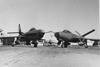 Republic XF-91 Thunderceptor - On the left is Republic XF-91 (serial number 46-680) after the nose radome installation and on the right is XF-91 (serial 46-681) after the V-tail modification.