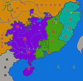 Huguang - Yuan dynasty Huguang province (in purple