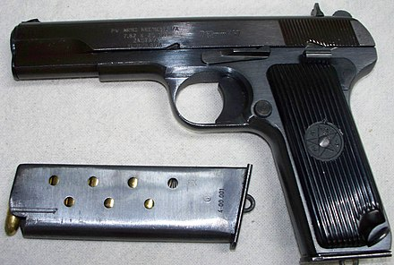 The Yugoslavian M57 variant with loaded 9-round magazine. Yugo Tokarev M57.jpg