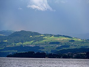Feusisberg - Feusisberg and Etzel (mountain) as seen from Lake Zürich