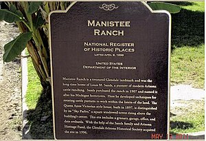 Manistee Ranch - National Register of Historic Places Marker