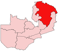 Map of Zambia showing the Northern Province