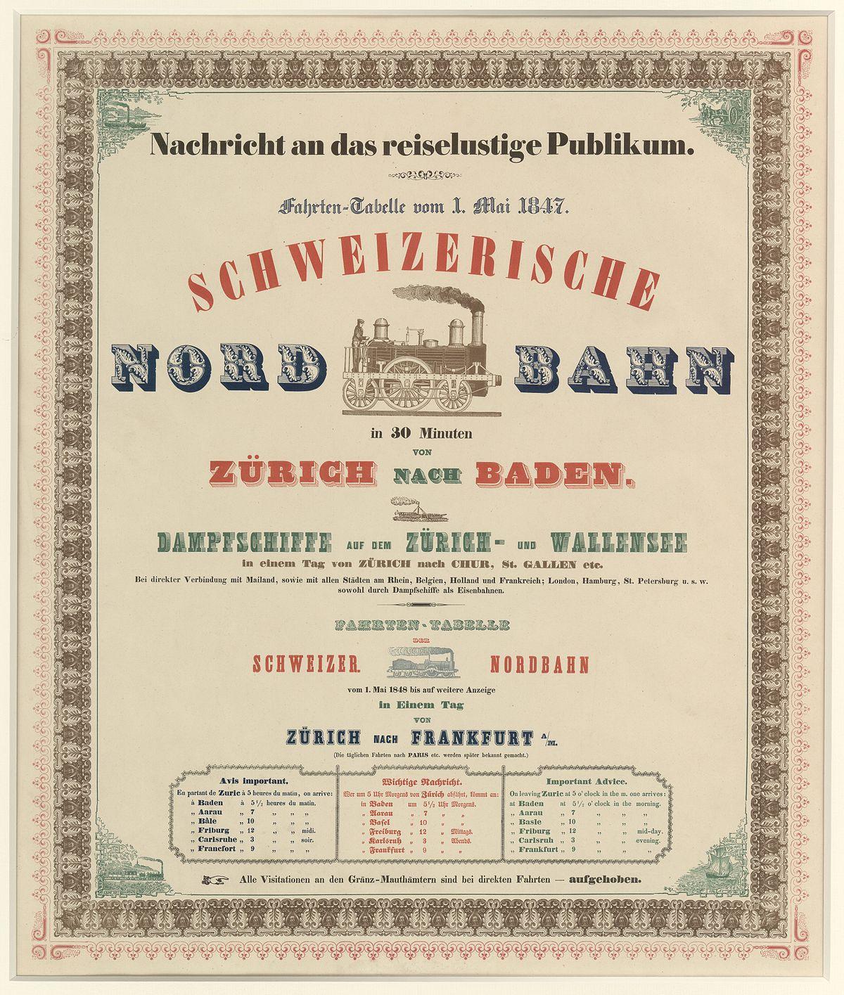 Schweizerische Nordbahn Wikipedia