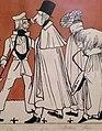 """""""Zug der Düsseldorfer Künstler"""" von 1837, Karikatur seiner malenden Zeitgenossen I, Andreas Achenbach – Ausschnitt Emil Ebers, Karl Ferdinand Sohn, Henry Ritter, Hage?.jpg"""