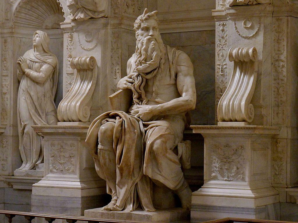Moïse sur le tombeau du pape Jules II par Michel Ange dans la basilique Saint-Pierre-aux-Liens à Rome - Photo de Jörg Bittner Unna