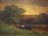 An oil painting of a river, with two people about to push off in a dinghy by the shore. A large tree bends over them, and the sun is setting on the horizon.