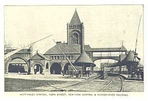 "138th Street (NYC station) - An 1893 photo of the 138th Street station from ""The King's Handbook of New York City."""