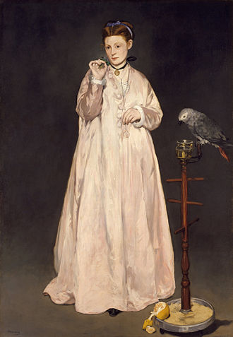 Woman with Parakeet - Édouard Manet's Young Lady in 1866, a contemporary painting of similar subject manner