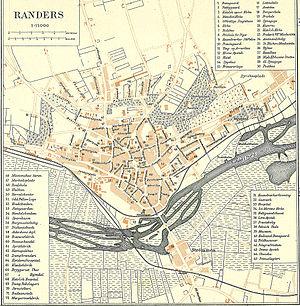 Randers - Map of Randers (1900).