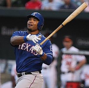 Marlon Byrd - Byrd batting for the Texas Rangers in 2009