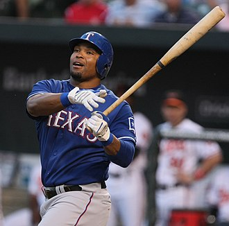 Marlon Byrd - Byrd batting for the Texas Rangers in 2009
