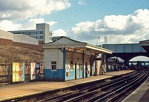 North Acton tube station - North Acton station facing east in March 1979, showing the old waiting room and only two Central line tracks.