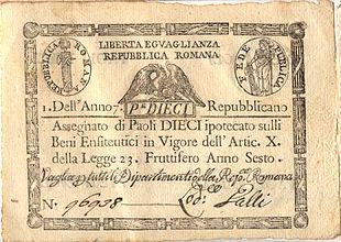 Assegnato da 10 Paoli della Repubblica Romana (1798-1799), con piccole tracce di fioritura