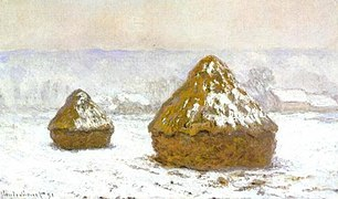 1274 Grainstacks Snow Effect, Meules, effet de neige, 1890-91, 60 x 100cm, Oil on Canvas, Hill-Stead Museum, Farmington, CT.jpg