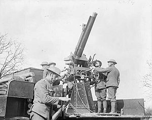 QF 13-pounder 9 cwt - Gun on Mk IV mount in action at Cambrai, 13 March 1918
