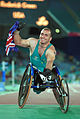 141100 - Athletics wheelchair racing Paul Nunnari Australian flag - 3b - 2000 Sydney race photo.jpg
