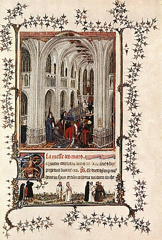 Madonna in the Church - Mass of the Dead. From the Turin-Milan Hours, attributed to the anonymous Hand G, thought to be van Eyck. This work shows a very similar gothic interior to the Berlin panel.