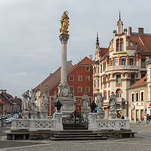 Plague Column (Maribor) - Plague Column at Main Square in Maribor (marble, 1743)