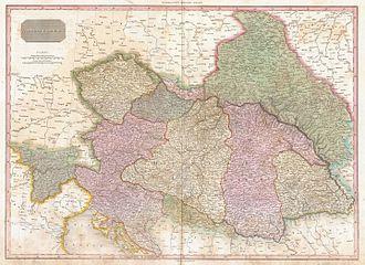 Principality of Transylvania (1711–1867) - Transylvania (in yellow - right side) in Austrian Empire (1818)