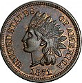 1871 Proof Indian Head cent obverse.jpg