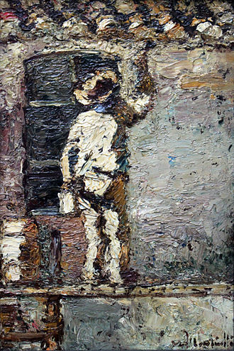 Adolphe Monticelli - A Painter at Work on a House Wall, 1875, Städel