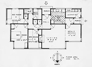 State housing - A 1930s state house layout. This is an early design with the meals recess in the living room; later state house plans moved the meals recess to the kitchen.
