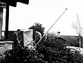 1961. Evacuating methyl bromide gas at the end of fumigation period. Note pipe supported by tripod to dissipate gas well away from the ground. European pine shoot moth experimental control. Seattle, WA. (33934716223).jpg