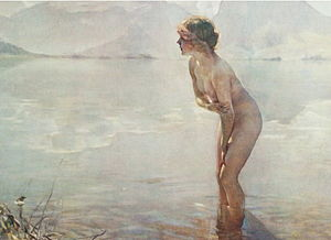 September Morn - A 1961 reproduction of the painting, showing the dominance of grays