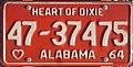 1964 Alabama passenger license plate.jpg