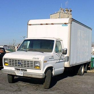 Box truck - A Ford Econoline 350 box truck in Harrisonburg, Virginia.