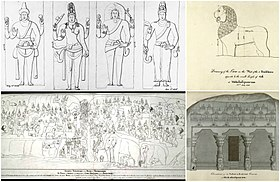Four 19th-century sketches of Mahabalipuram